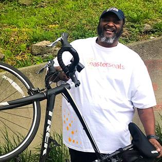 Chris Macklin with his bike
