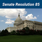Senate resolution 85. Photo of us state senate building.