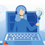 Drawing of a woman wearing a call center headset popping out of a laptop screen and a lightbulb over her hand.