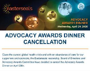 2020 Advocacy Awards Dinner Canceled
