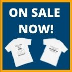 TEXT: on sale now! - two t-shirts underneath text