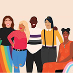 Image of diverse people wearing colorful clothes arms around each other posing for camera.