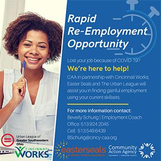 Graphic to promote Rapid Re-Employment program