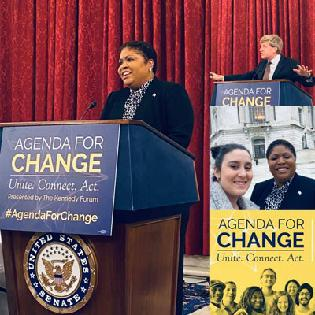 Dr. Tracy Neal-Walden speaking at the Kennedy Forum's Agenda for Change event in DC.