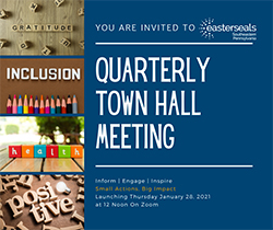 Quarterly Town Hall notic with the words gratitude, inclusion health and positive