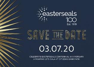 easterseals 100 logo with Save The Date March 7, 2020
