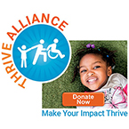 Thrive Alliance Fundraiser logo and image of girl lying on grass