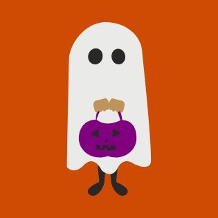graphic of the cutest ghost with a purple pumpkin trick-or-treat bag