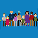 A group of diverse people are shown in the style of cut-out animation