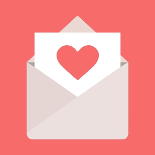 envelope with a heart letter poking out of the top on a pink background