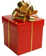 photo of red present with gold bow