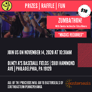 Zumbathon poster with people dancing and information featured in link to event