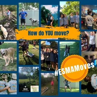 collage of people doing various movements, exercises, stretches, playing with dogs. #ESMAMoves