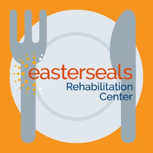 graphic of a plate with a fork and knife on it with the Easterseals Rehabilitation Center logo in between them