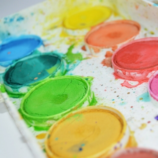 close-up photo of a watercolor paint tray