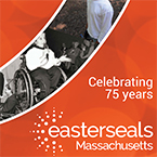 Orange background, white text. Text says easterseals massachusetts. celebrating 75 years.