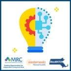 A graphic of a lightbulb, half yellow, and half blue with gear icons in the middle. ESMA, MRC, and MassMatch logos embellish the lower edge