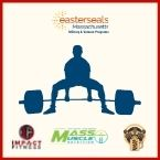 A graphic silhouette of a man deadlifting weights. Sponsor logos embellish lower edge.