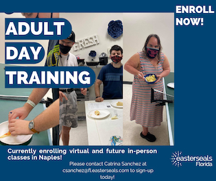 adult day training, virtual, employment skills, life skills, disabilities, easterseals, naples, naples florida, online course florida