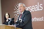 Mayor Speaks at Podium in Easterseals Arc Lobby