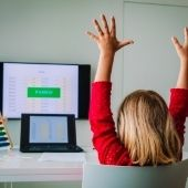 child passing remote learning test