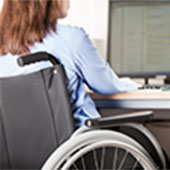 disabled worker at computer