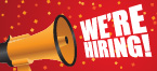 Bullhorn and words We're Hiring