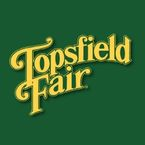 A green background is behind the yellow Topsfield Fair logo