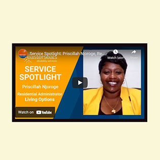 Picture of African American Associate Priscillah Njoroge on Service Spotlight video
