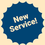 Blue badge with words New Service