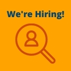 We're Hiring! Graphic of magnifying glass with a person inside of it