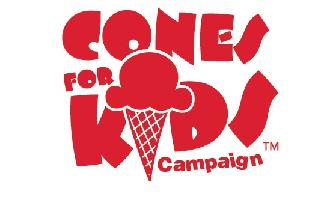 Red bubble letters that spell Cones for Kids Campaign. The I in Kids is an ice cream cone