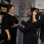 Woman being interviewed on camera by NJTV