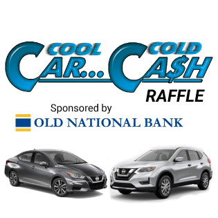 Cool Car, Cold Cash Raffle logo above the grand prize cars